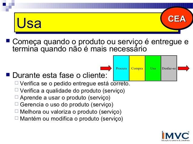 Desfaz-se Desfaz-se   CEA  Durante a fase final de uso o cliente desfaz-se do produto (serviço) das seguintes maneiras: ...