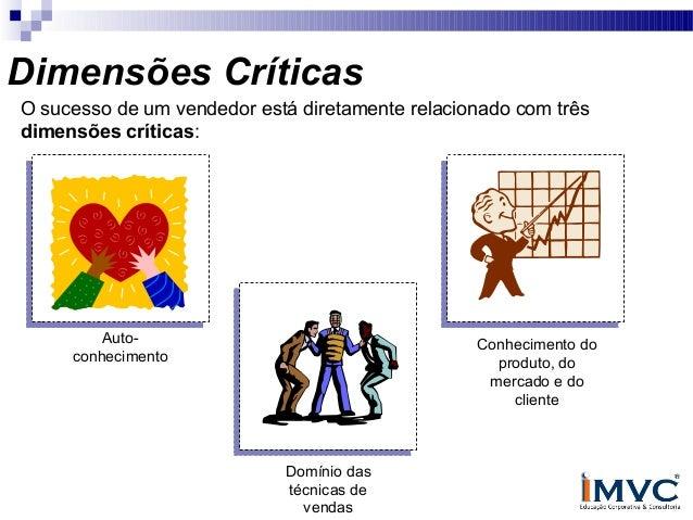 Dimensões Críticas O sucesso de um vendedor está diretamente relacionado com três dimensões críticas:  Autoconhecimento  C...