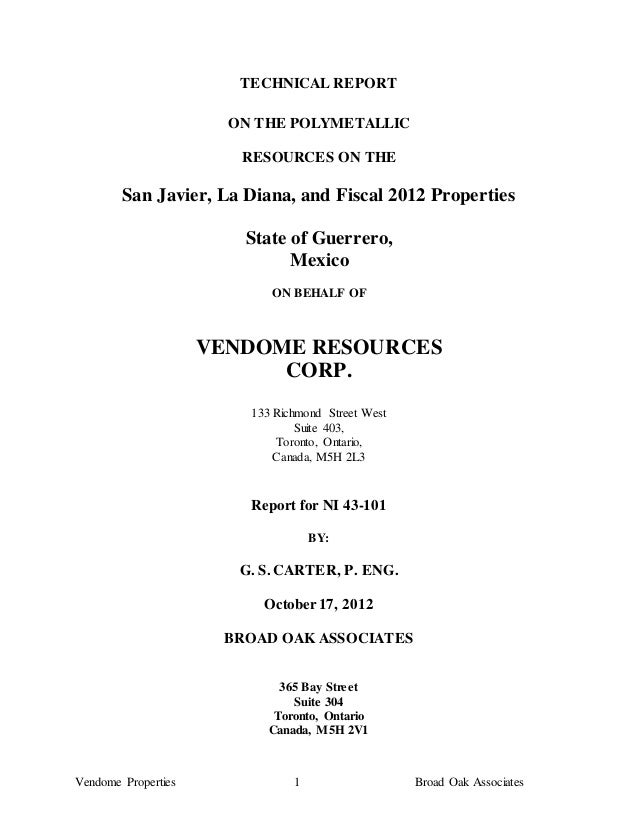 TECHNICAL REPORT                       ON THE POLYMETALLIC                        RESOURCES ON THE        San Javier, La D...