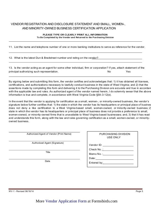 Vendor Application Form