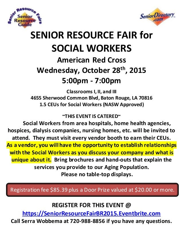 senior resource fair for social workers american red cross wednesday october 28th 2015 5