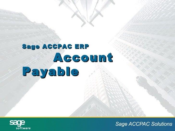 Sage ACCPAC ERP Account Payable