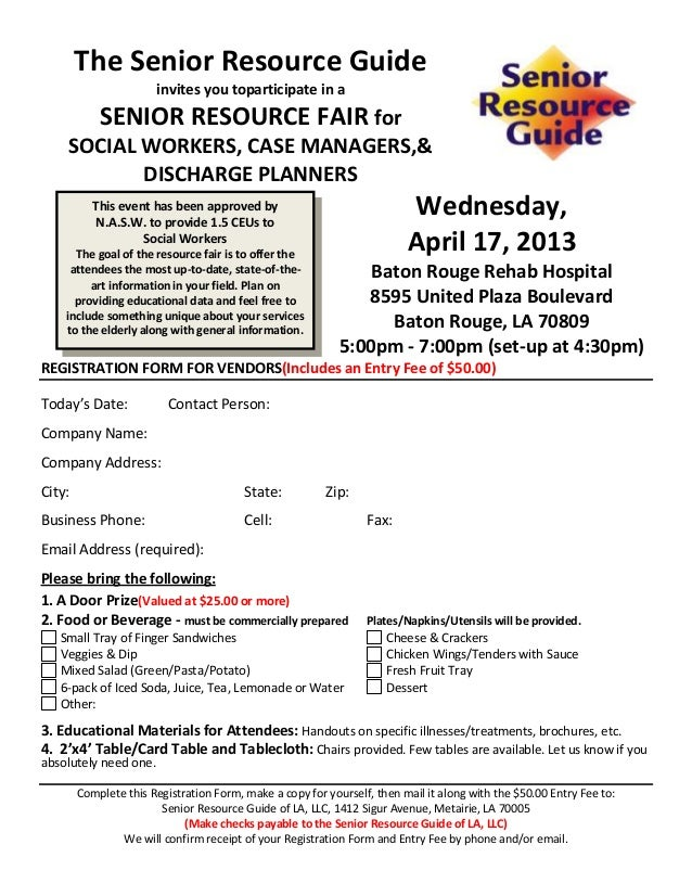Vendor Registration Form For Senior Resource Fair Br Rehab