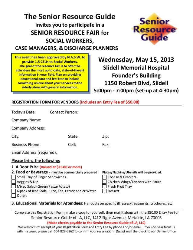Vendor Registration Form For Senior Resource Fair Smh  Protected