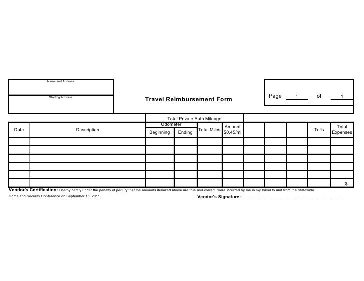 Vendor travel reimbursement form