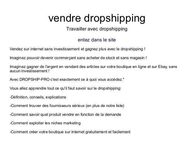 vendre dropshippingTravailler avec dropshippingentez dans le siteVendez sur internet sans investissement et gagnez plus av...