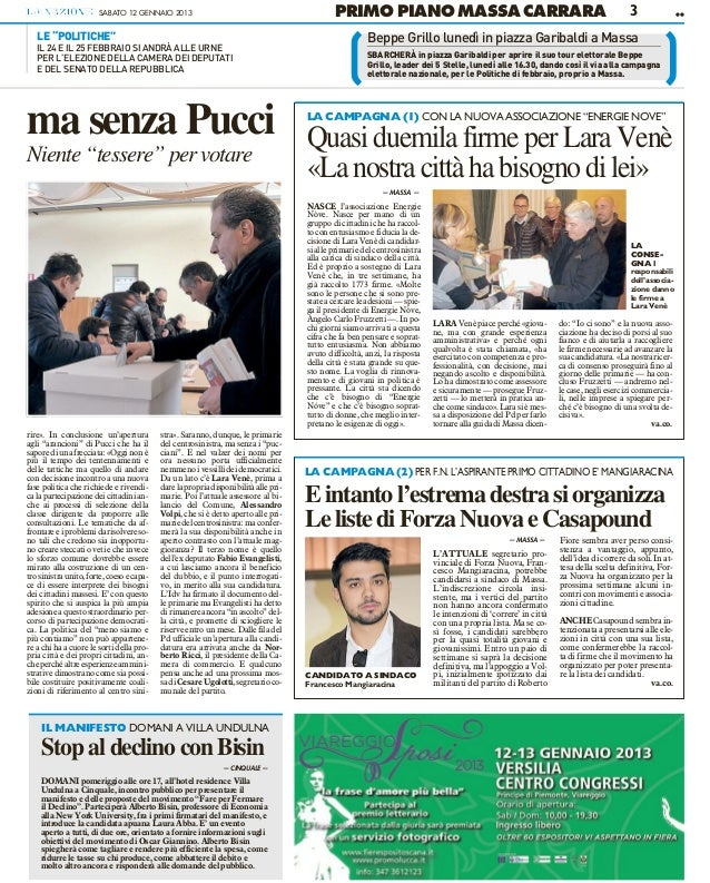 SABATO 12 GENNAIO 2013                                                PRIMO PIANO MASSA CARRARA                           ...
