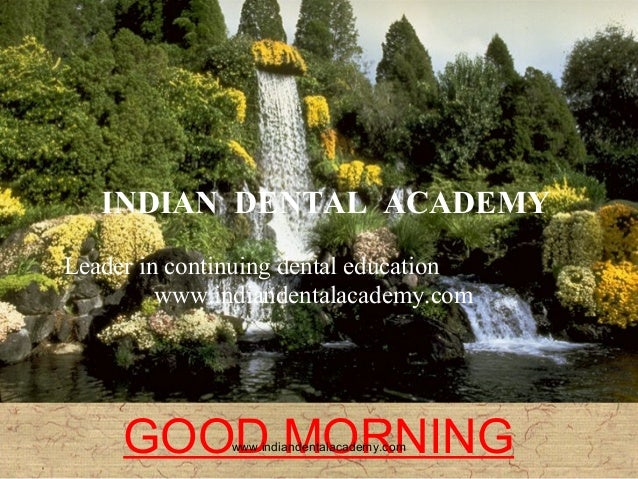 INDIAN DENTAL ACADEMY Leader in continuing dental education www.indiandentalacademy.com  GOOD MORNING www.indiandentalacad...