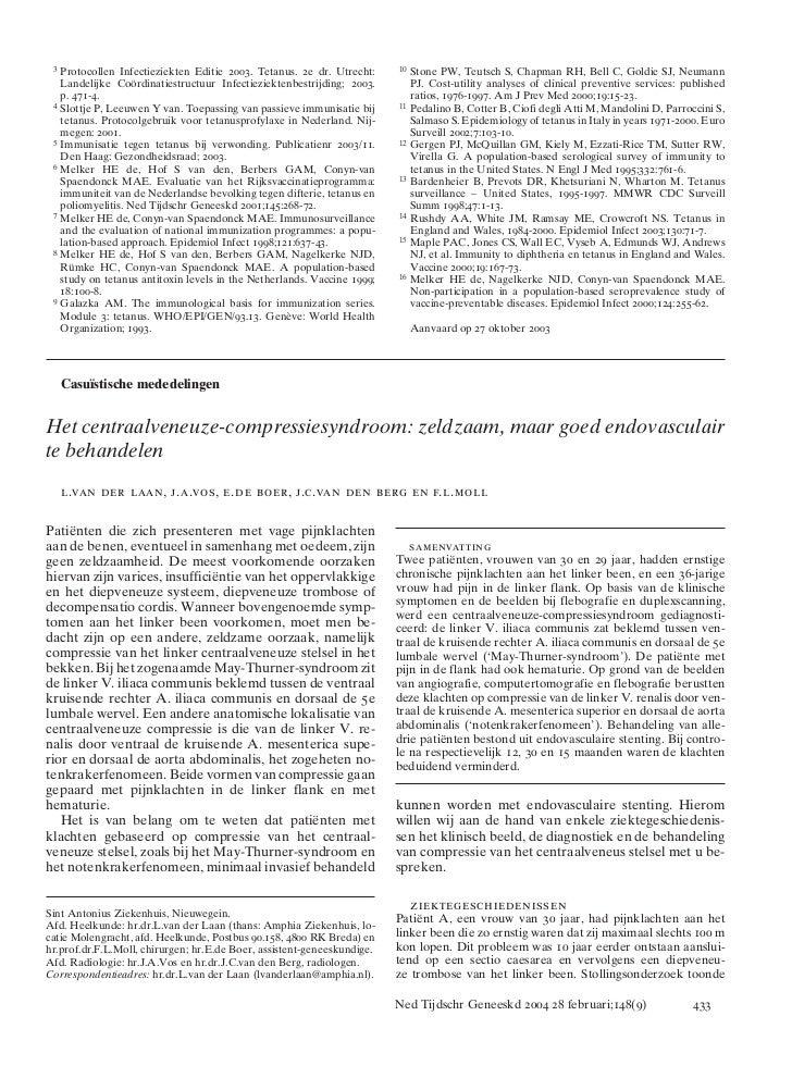 3   Protocollen Infectieziekten Editie 2003. Tetanus. 2e dr. Utrecht:     10   Stone PW, Teutsch S, Chapman RH, Bell C, Go...