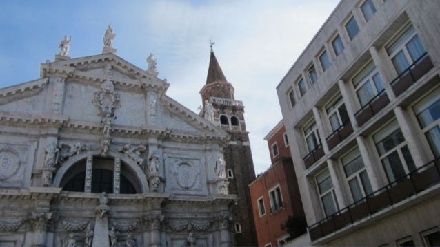 The top of the church is Venice crowned, between Justice and Temperance