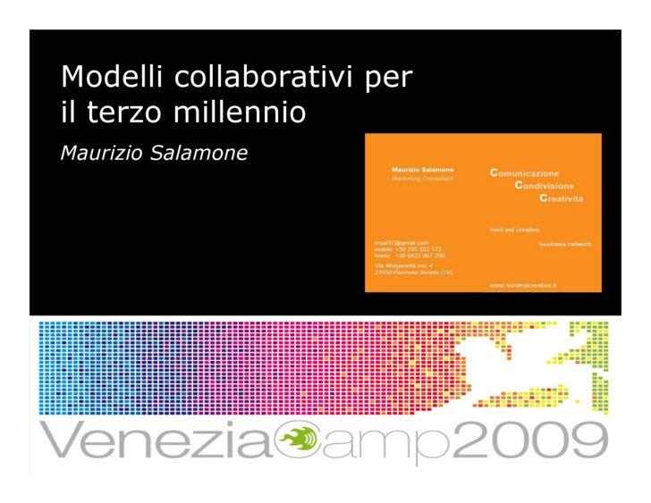 Modelli collaborativi per il terzo millennio Maurizio Salamone