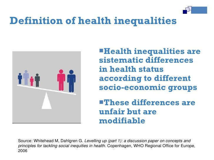 health inequalities The cdc health disparities and inequalities report - united states, 2013, published in cdc's morbidity and mortality weekly report (mmwr), is the second consolidated assessment that highlights health disparities and inequalities across a wide range of diseases, behavioral risk factors, environmental exposures, social determinants, and health .
