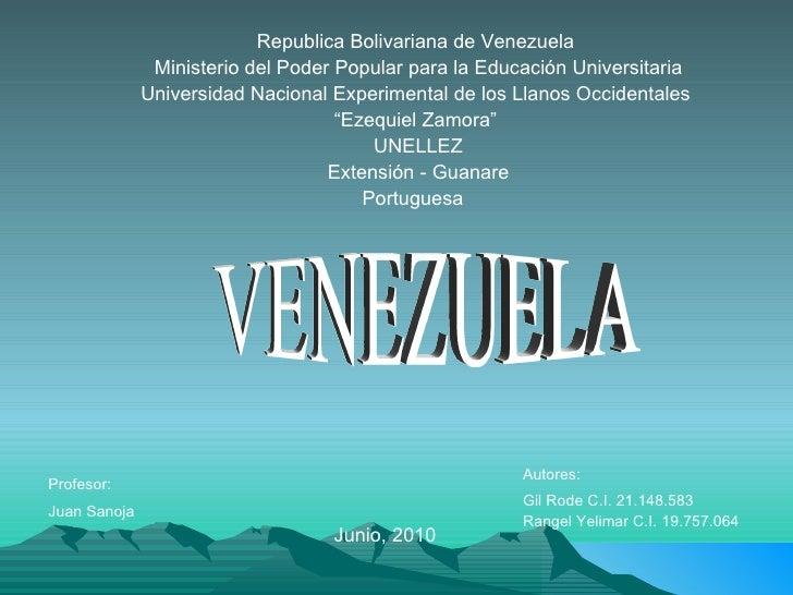 Republica Bolivariana de Venezuela  Ministerio del Poder Popular para la Educación Universitaria Universidad Nacional Expe...
