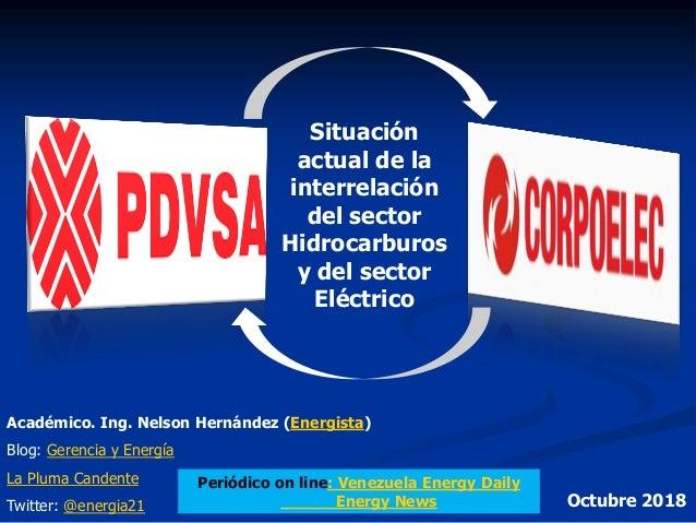 Situación actual de la interrelación del sector Hidrocarburos y del sector Eléctrico Académico. Ing. Nelson Hernández (Ene...