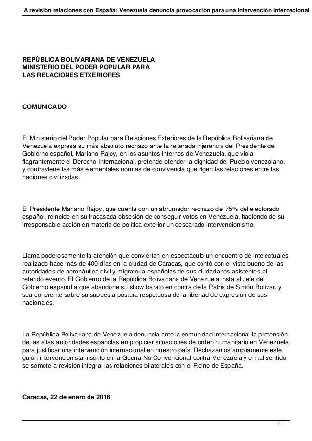 Ministerio de relaciones exteriores de venezuela comunicado for Ministerio de relaciones interiores espana
