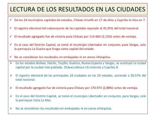 LECTURA DE LOS RESULTADOS EN LAS CIUDADES De los 24 municipios capitales de estados, Chávez triunfó en 17 de ellos y Capr...