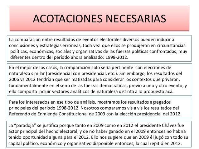 ACOTACIONES NECESARIASLa comparación entre resultados de eventos electorales diversos pueden inducir aconclusiones y estra...
