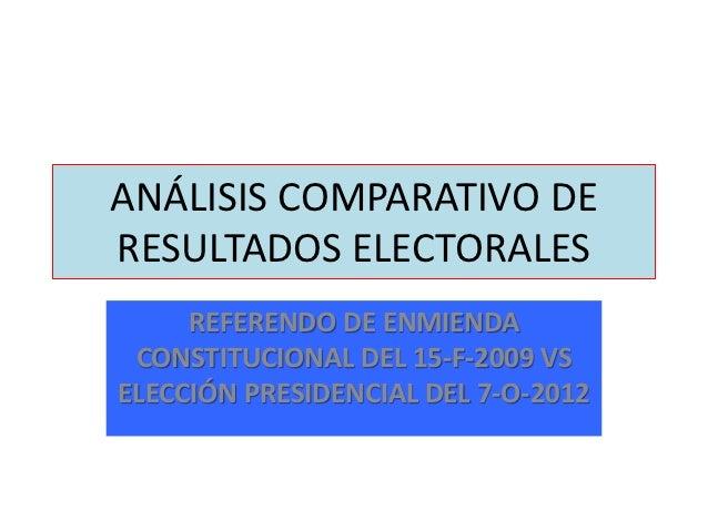 ANÁLISIS COMPARATIVO DERESULTADOS ELECTORALES     REFERENDO DE ENMIENDA CONSTITUCIONAL DEL 15-F-2009 VSELECCIÓN PRESIDENCI...