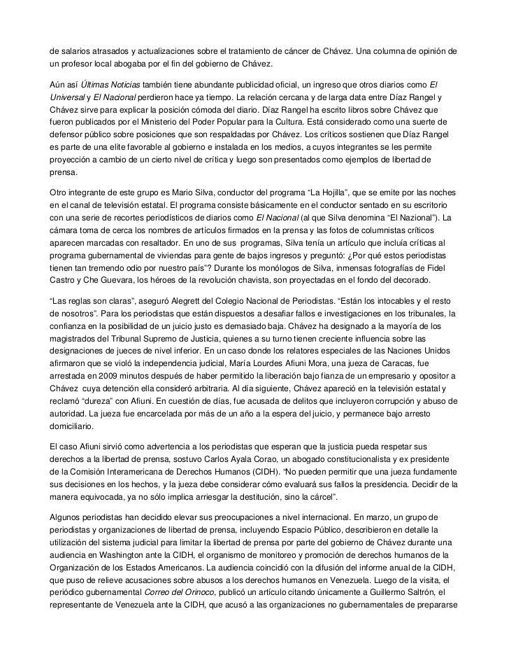 de salarios atrasados y actualizaciones sobre el tratamiento de cáncer de Chávez. Una columna de opinión deun profesor loc...