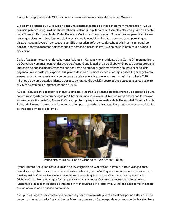 Flores, la vicepresidenta de Globovisión, en una entrevista en la sede del canal, en Caracas.El gobierno sostiene que Glob...