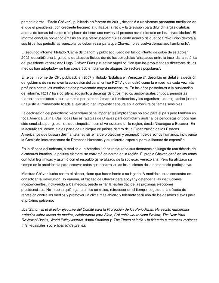 """primer informe, """"Radio Chávez"""", publicado en febrero de 2001, describió a un vibrante panorama mediático enel que el presi..."""