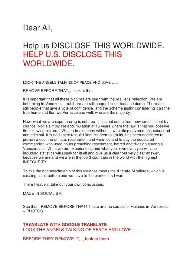 Dear All, Help us DISCLOSE THIS WORLDWIDE. HELP U.S. DISCLOSE THIS WORLDWIDE. LOOK THE ANGELS TALKING OF PEACE AND LOVE .....