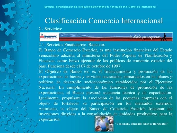 Venezuela en el comercio internacional for Banco exterior caracas
