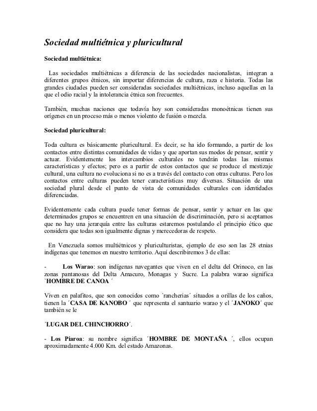 Venezuela sociedad multietnica y pluricultural