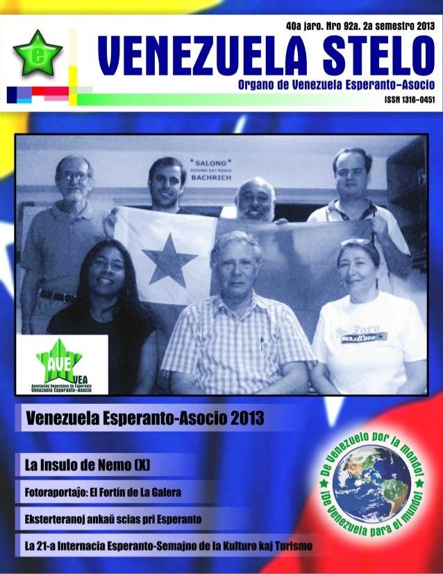 Venezuela Esperanto-Asocio  VENEZUELA STELO  Enhavtabelo Movadaj Noticoj  3a  La 21-a Internacia Esperanto-Semajno de la K...