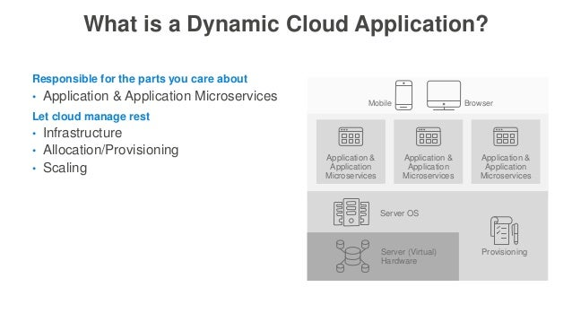 What is a Dynamic Cloud Application? • Application & Application Microservices Responsible for the parts you care about • ...