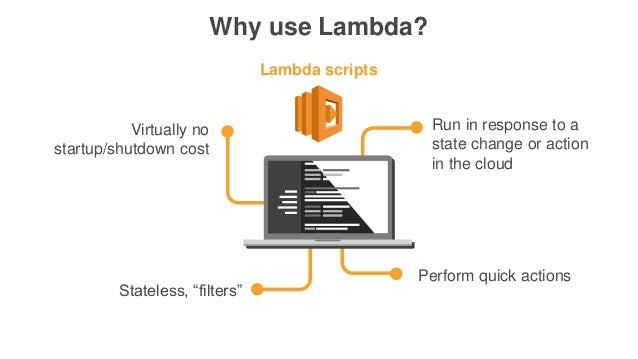 """Why use Lambda? Run in response to a state change or action in the cloud Stateless, """"filters"""" Perform quick actions Virtua..."""