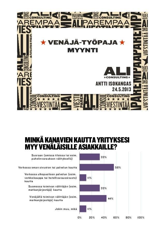 VENÄJÄ-TYÖPAJAMYYNTIANTTI ISOKANGAS24.5.2013MINKÄKANAVIENKAUTTAYRITYKSESIMYYVENÄLÄISILLEASIAKKAILLE?33%56%11%33%44%11%0% 2...