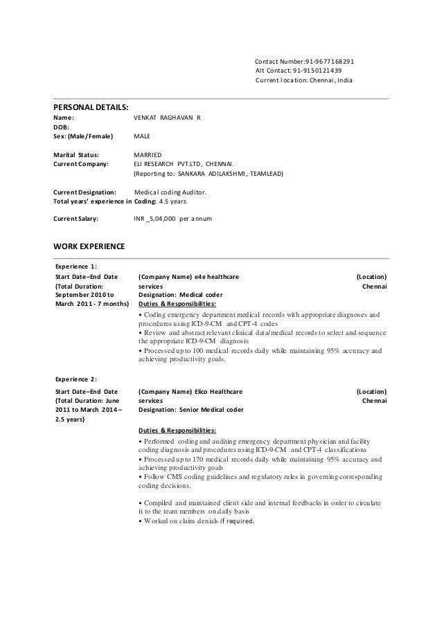 Venkat raghavan resume – Medical Coding Duties