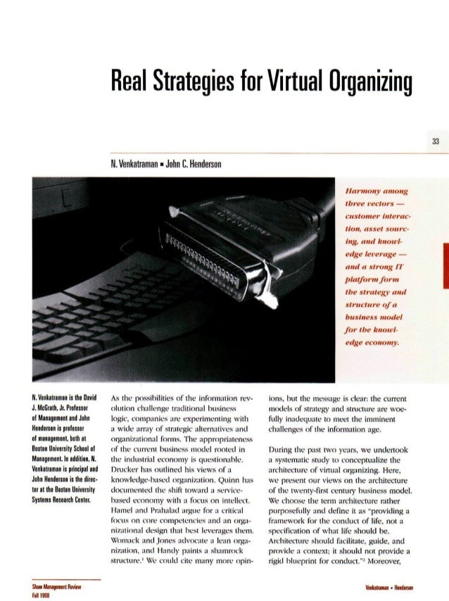 Real Strategies for Virtual Organizing 33 ll. Venkatraman - John C. Henderson Harmony among three vectors — customer inter...