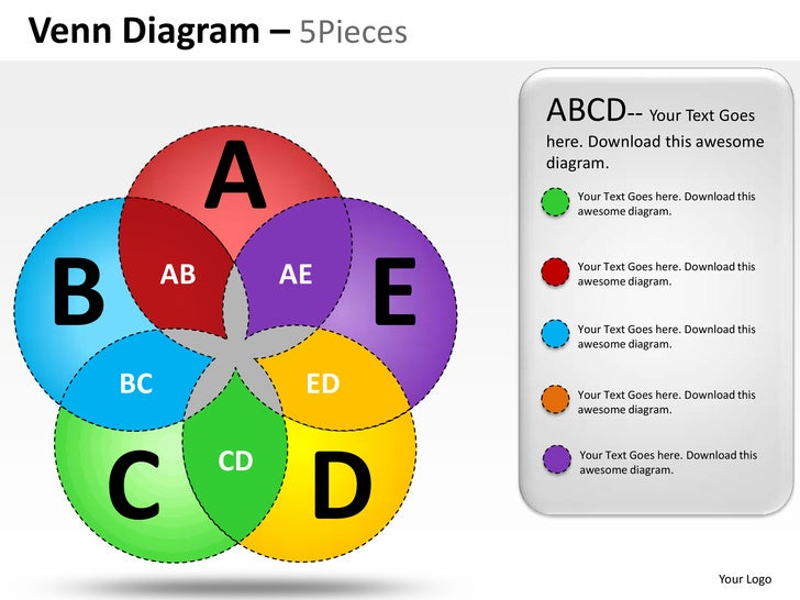 Venn Diagram – 5Pieces                              ABCD-- Your Text Goes               A                              her...