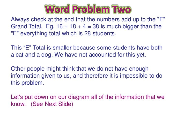 Word problem diagram auto electrical wiring diagram venn diagram word problems 10 728 jpg cb 1333775790 rh slideshare net word problems tape diagrams ccuart Choice Image