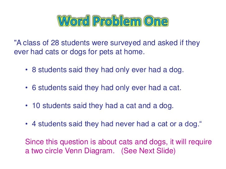 Triple venn diagram word problems diy wiring diagrams venn diagram word problems rh slideshare net venn diagram word problems worksheet word problems using venn ccuart Image collections