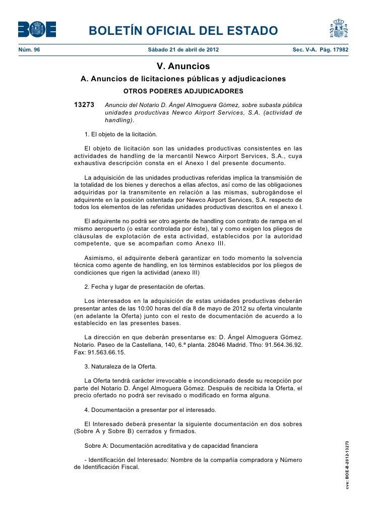 BOLETÍN OFICIAL DEL ESTADONúm. 96                                Sábado 21 de abril de 2012                        Sec. V-...