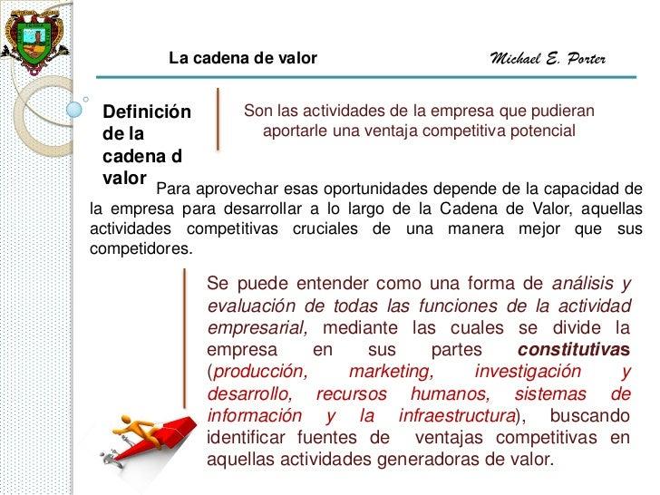 La cadena de valor                       Michael E. Porter Definición        Son las actividades de la empresa que pudiera...