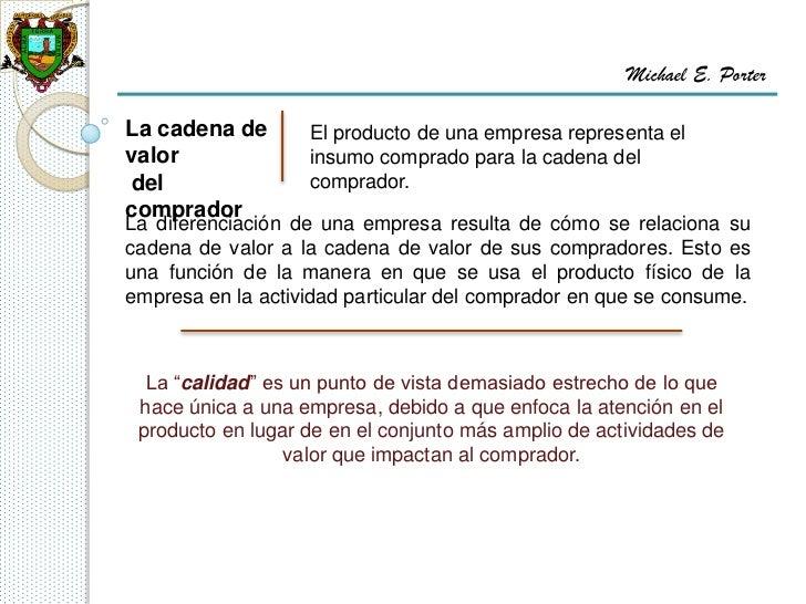 Michael E. PorterLa cadena de       El producto de una empresa representa elvalor              insumo comprado para la cad...