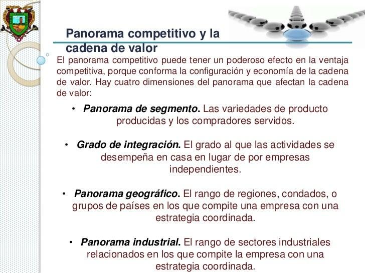Panorama competitivo y la  cadena de valorEl panorama competitivo puede tener un poderoso efecto en la ventajacompetitiva,...