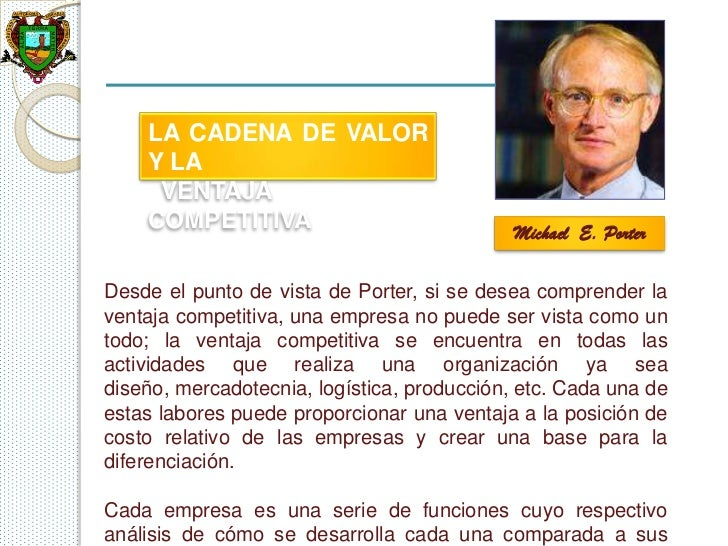 LA CADENA DE VALOR    Y LA     VENTAJA    COMPETITIVA                              Michael E. PorterDesde el punto de vist...
