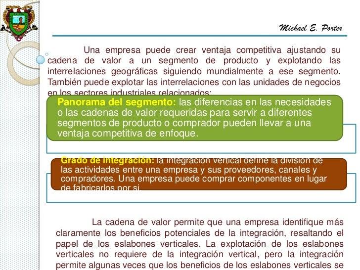Michael E. Porter          Una empresa puede crear ventaja competitiva ajustando sucadena de valor a un segmento de produc...