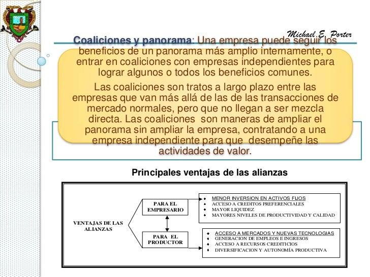 Michael E. PorterCoaliciones y panorama: Una empresa puede seguir los beneficios de un panorama más amplio internamente, o...
