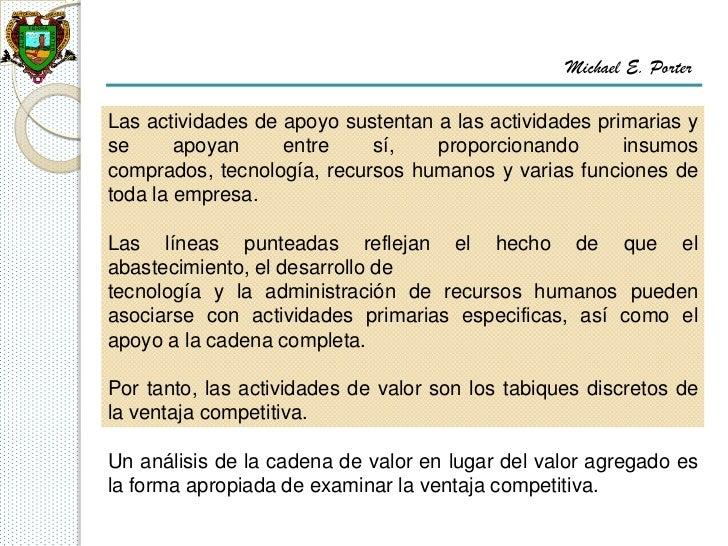 Michael E. PorterLas actividades de apoyo sustentan a las actividades primarias yse      apoyan     entre    sí,    propor...