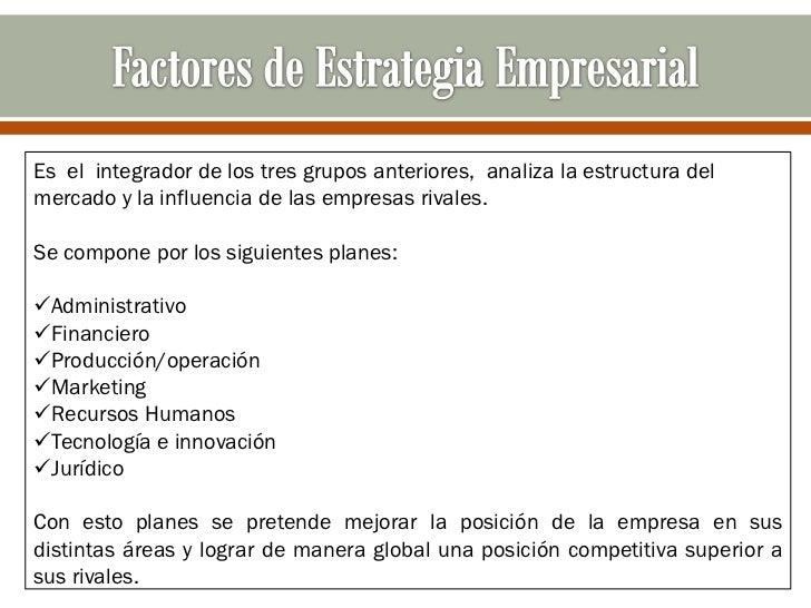 Es el integrador de los tres grupos anteriores, analiza la estructura delmercado y la influencia de las empresas rivales.S...