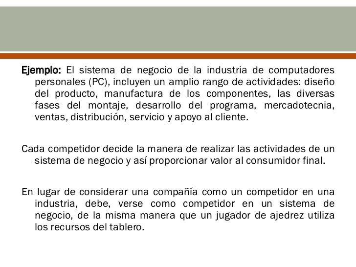 Ejemplo: El sistema de negocio de la industria de computadores   personales (PC), incluyen un amplio rango de actividades:...