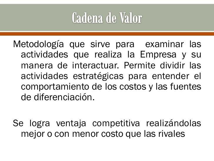 Metodología que sirve para examinar las actividades que realiza la Empresa y su manera de interactuar. Permite dividir las...