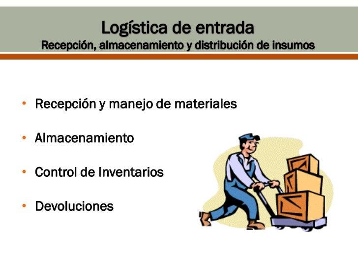• Recepción y manejo de materiales• Almacenamiento• Control de Inventarios• Devoluciones