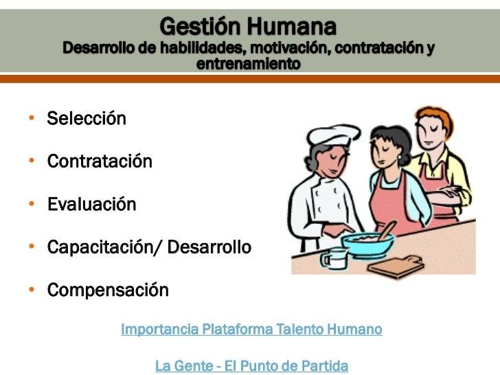 • Selección• Contratación• Evaluación• Capacitación/ Desarrollo• Compensación          Importancia Plataforma Talento Huma...